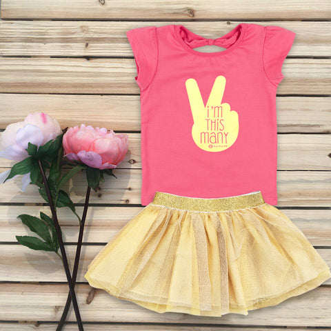"""This Many - 3 yr"" Toddler Birthday T-Shirt, Pink & Gold Foil"