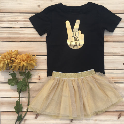 """This Many - 3 yr"" Toddler Birthday T-Shirt, Black & Gold Foil"