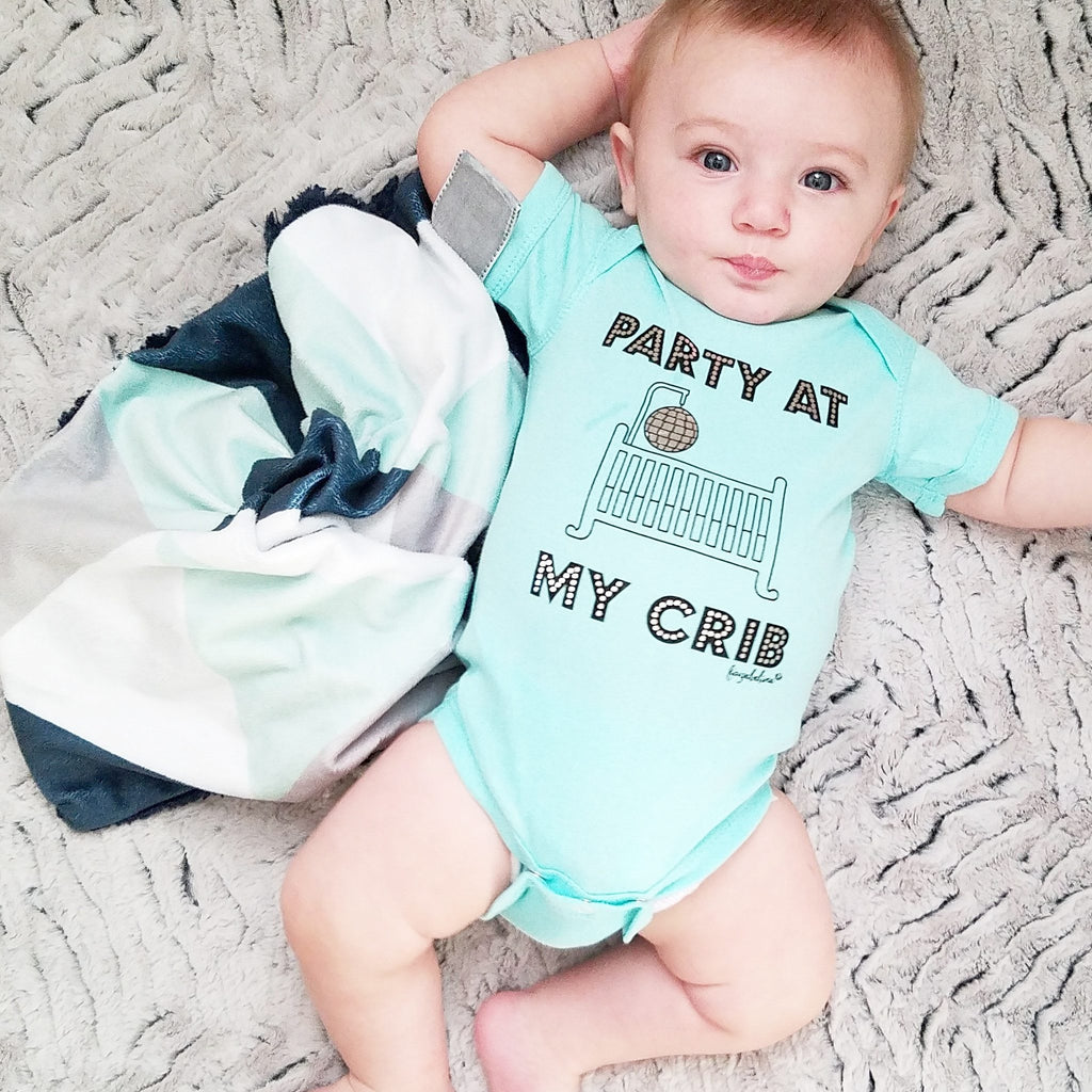 party at my crib aqua baby onesie bodysuit
