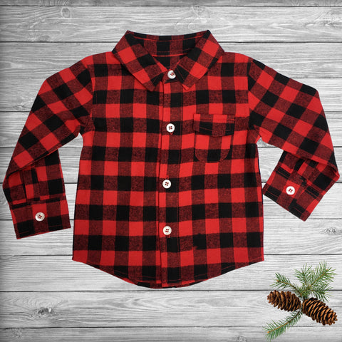 Buffalo Plaid Button Up Long Sleeve for Toddlers