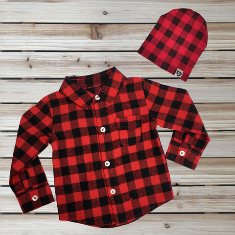 Buffalo Plaid Baby Button Up Long Sleeve