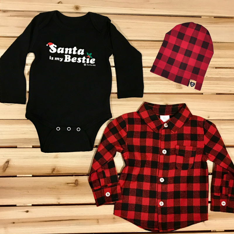 Santa is My Bestie & Buffalo Plaid Complete Outfit for Babies