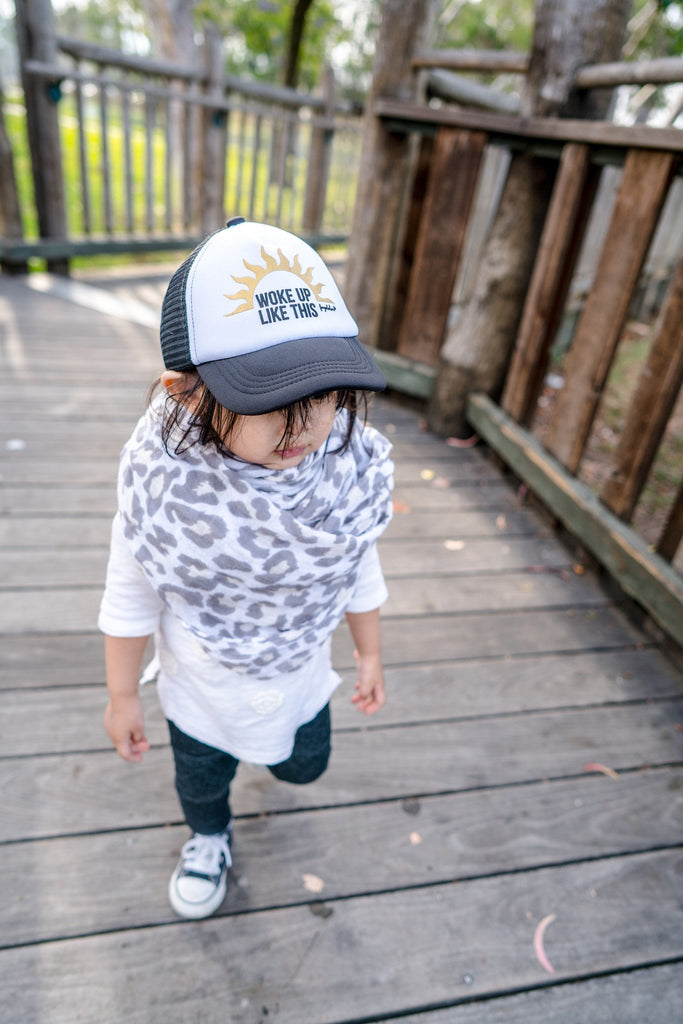 "Hat - Fayebeline Trucker Style ""Woke Up Like This"" Baby Hat - Black"