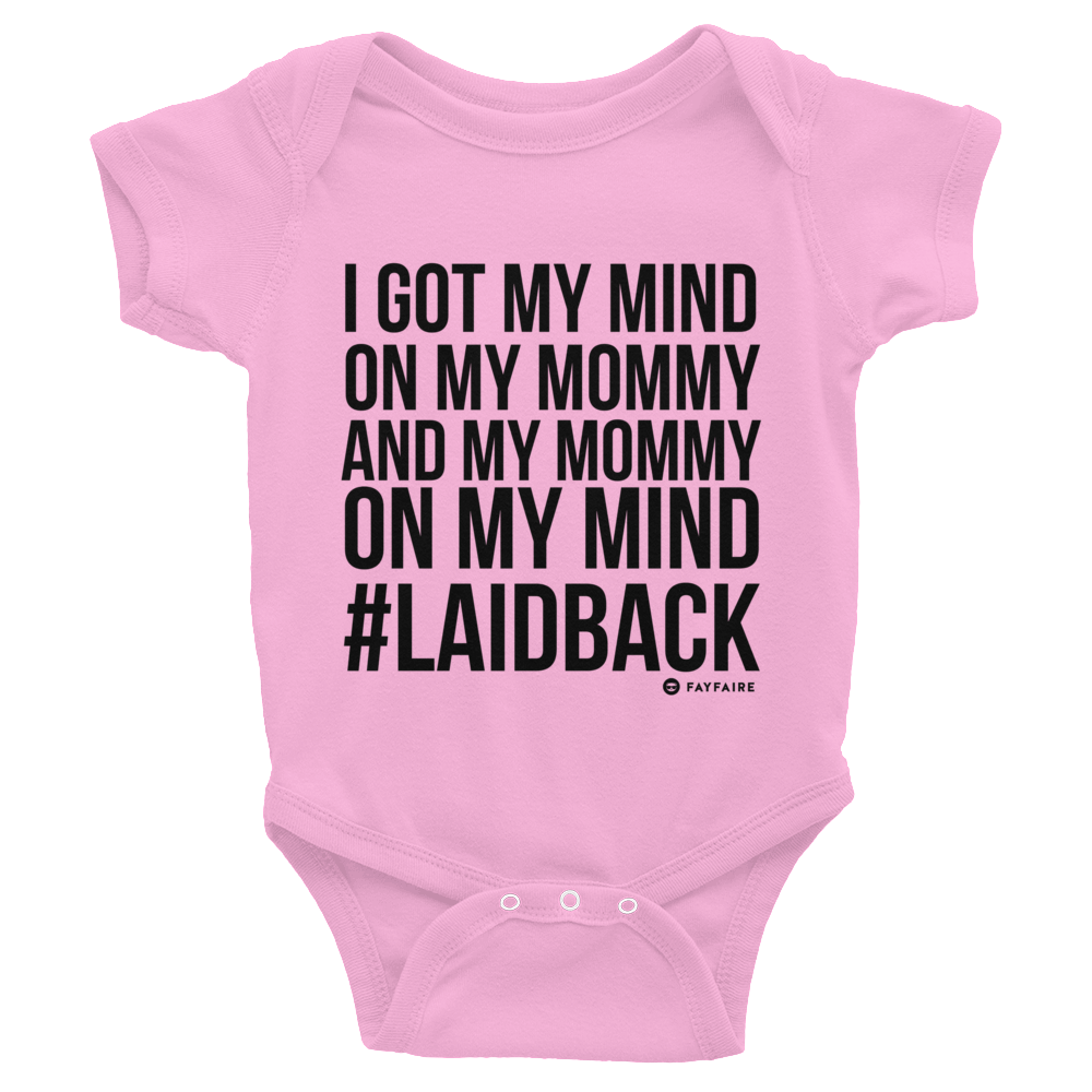 """Mommy on My Mind"" Funny Baby Onesie - Pink, Gray, White - NB-24M"