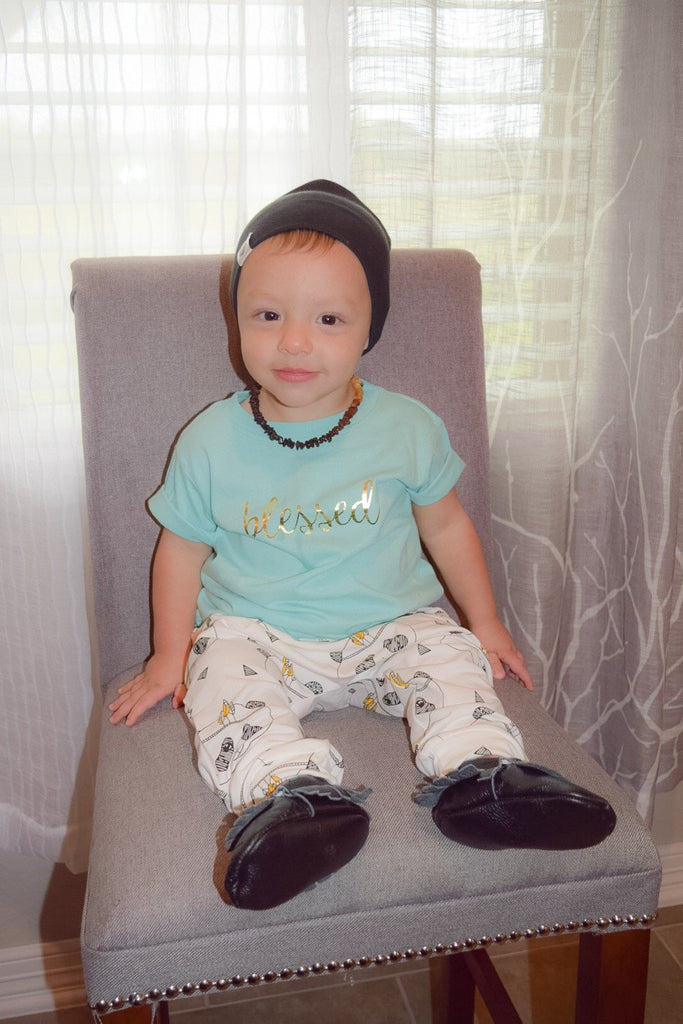 "Toddler T-Shirt - Fayebeline Boutique Quality Gift ""Blessed"" Premium Toddler Tee T-Shirt, Aqua & Gold Foil"