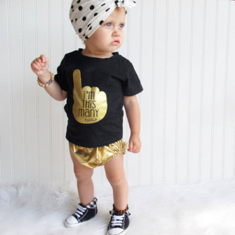 "Toddler T-Shirt - ""I'm This Many"" One Year Old Birthday T-Shirt, Black & Gold Foil, Boy Or Girl"