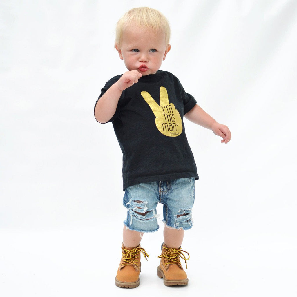 "Toddler T-Shirt - ""I'm This Many"" Two Year Old Birthday T-Shirt, Black & Gold Foil, 2T Size"