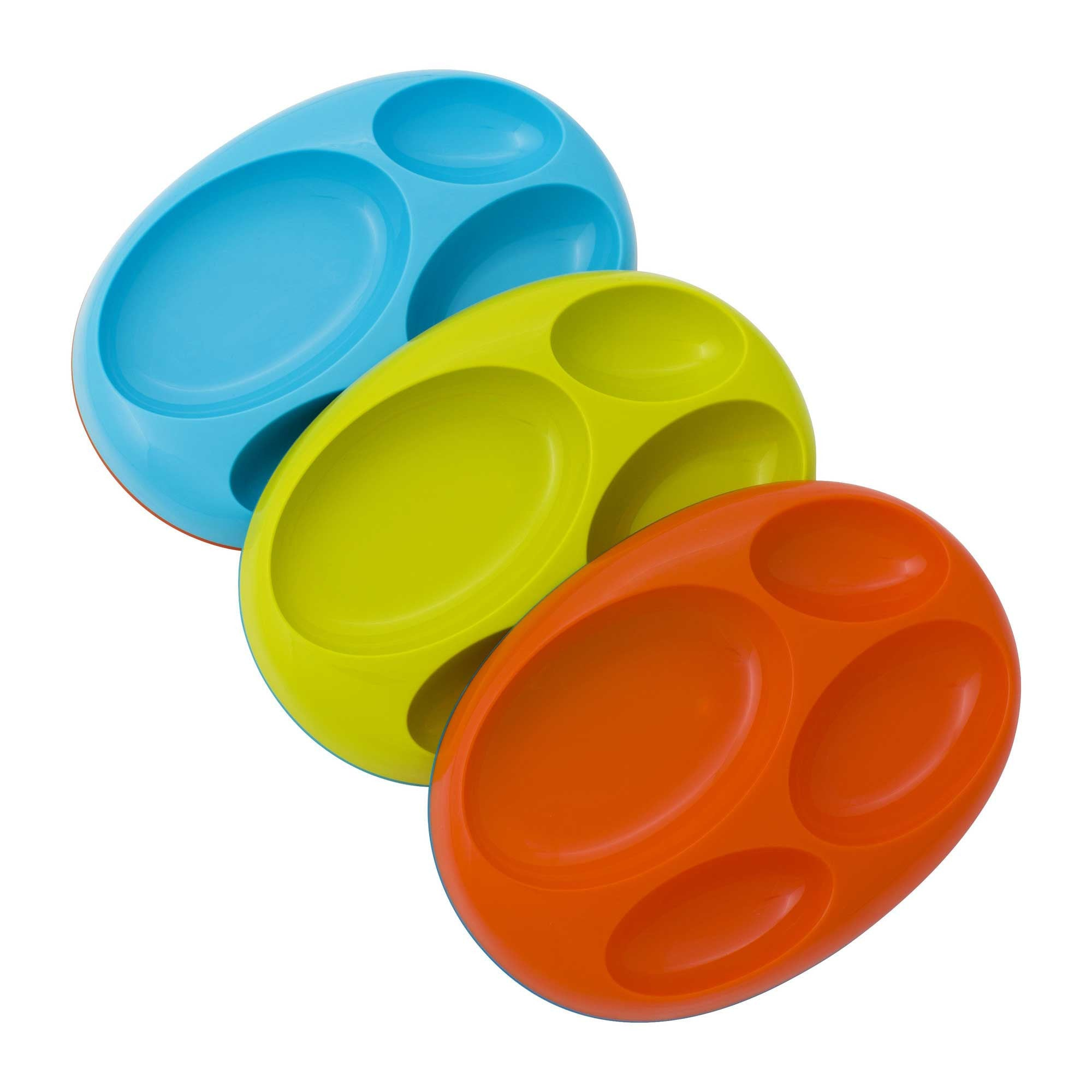 Boon Platter Edgeless Nonskid Divided Plate 3Pk Blue Kiwi Tangerine