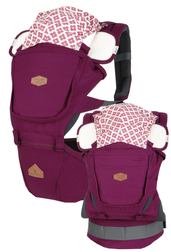 i-angel Baby Carriers Hipseat Rainbow 3in1 Floral Plum