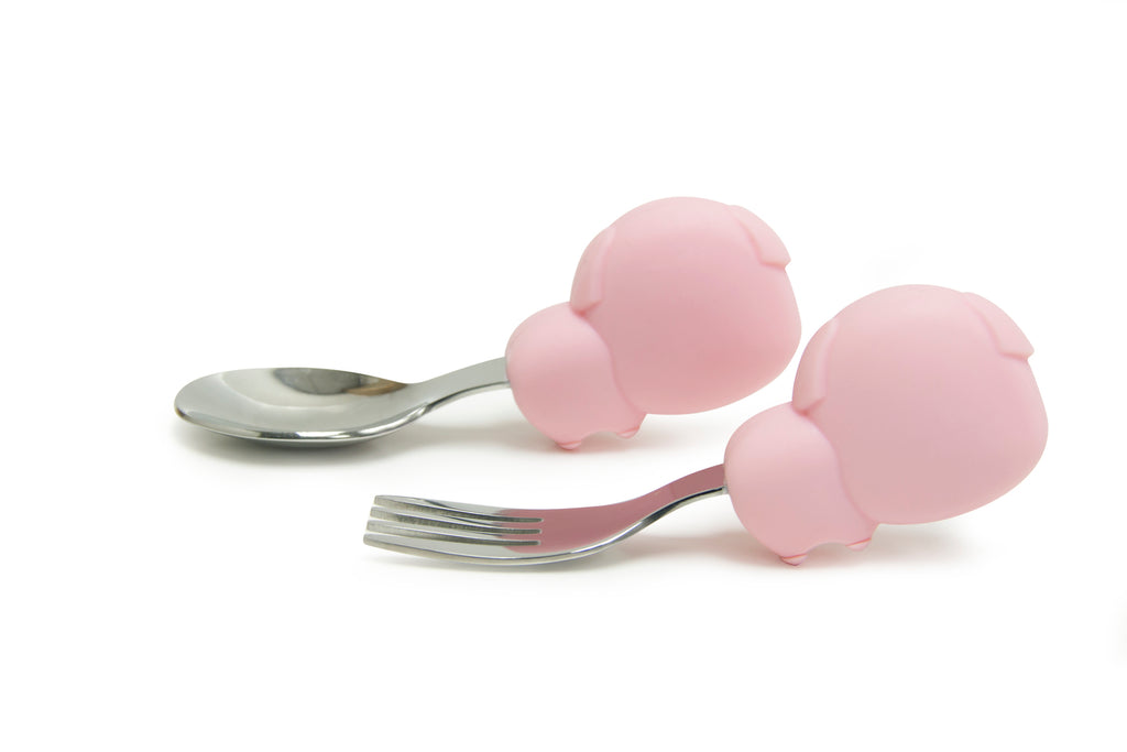 Marcus & Marcus 2 Pce Palm Grasp Cutlery Set Pokey Pink Pig