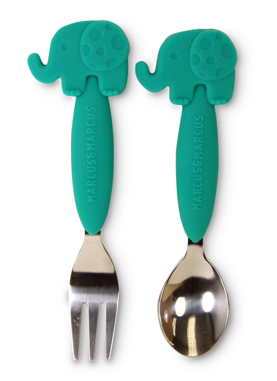 Marcus & Marcus Silicone Children's Cutlery Green Elephant