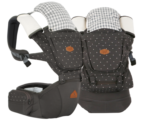 i-angel Baby Carriers Hipseat Rainbow 2 Charcoal Grey Pattern