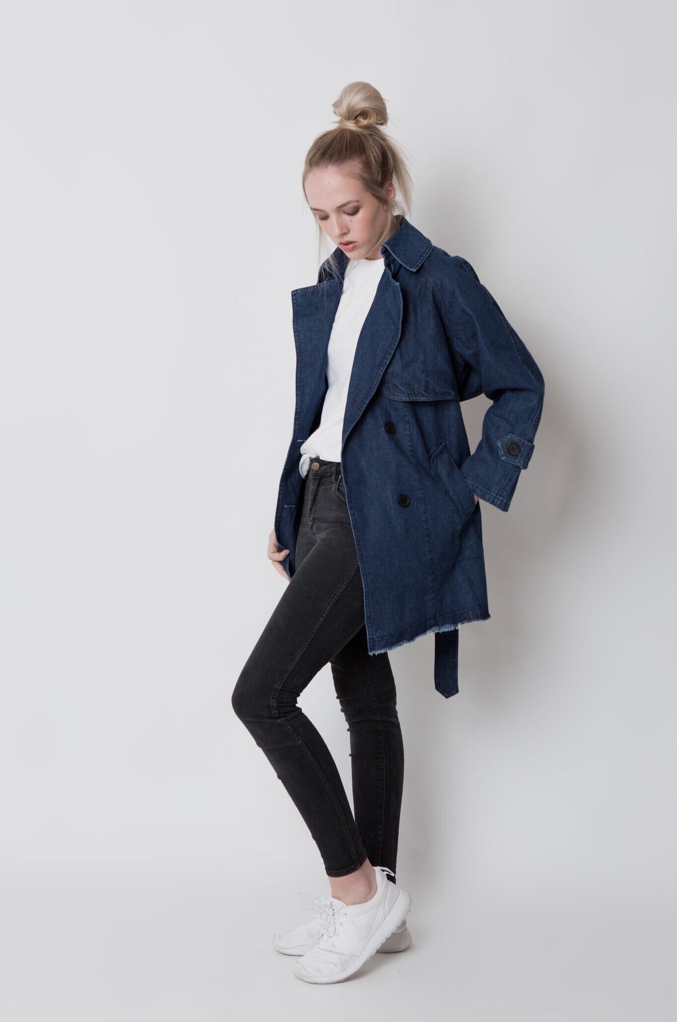 Double-breasted denim trench coat