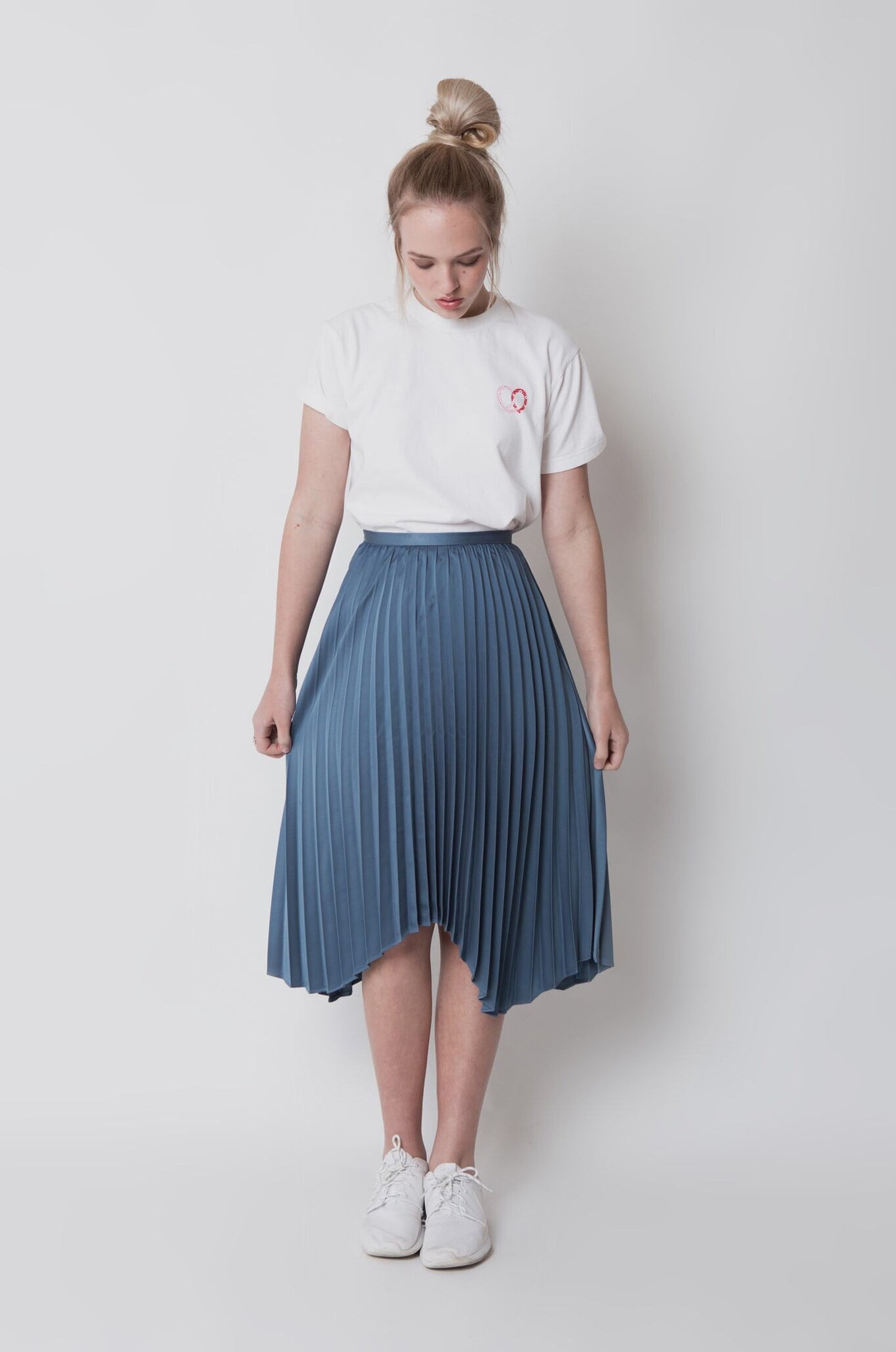 Pleated midi skirt - Blue
