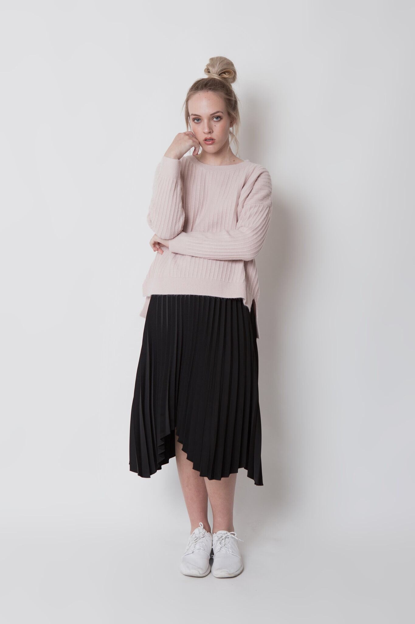 Pleated midi skirt - Black