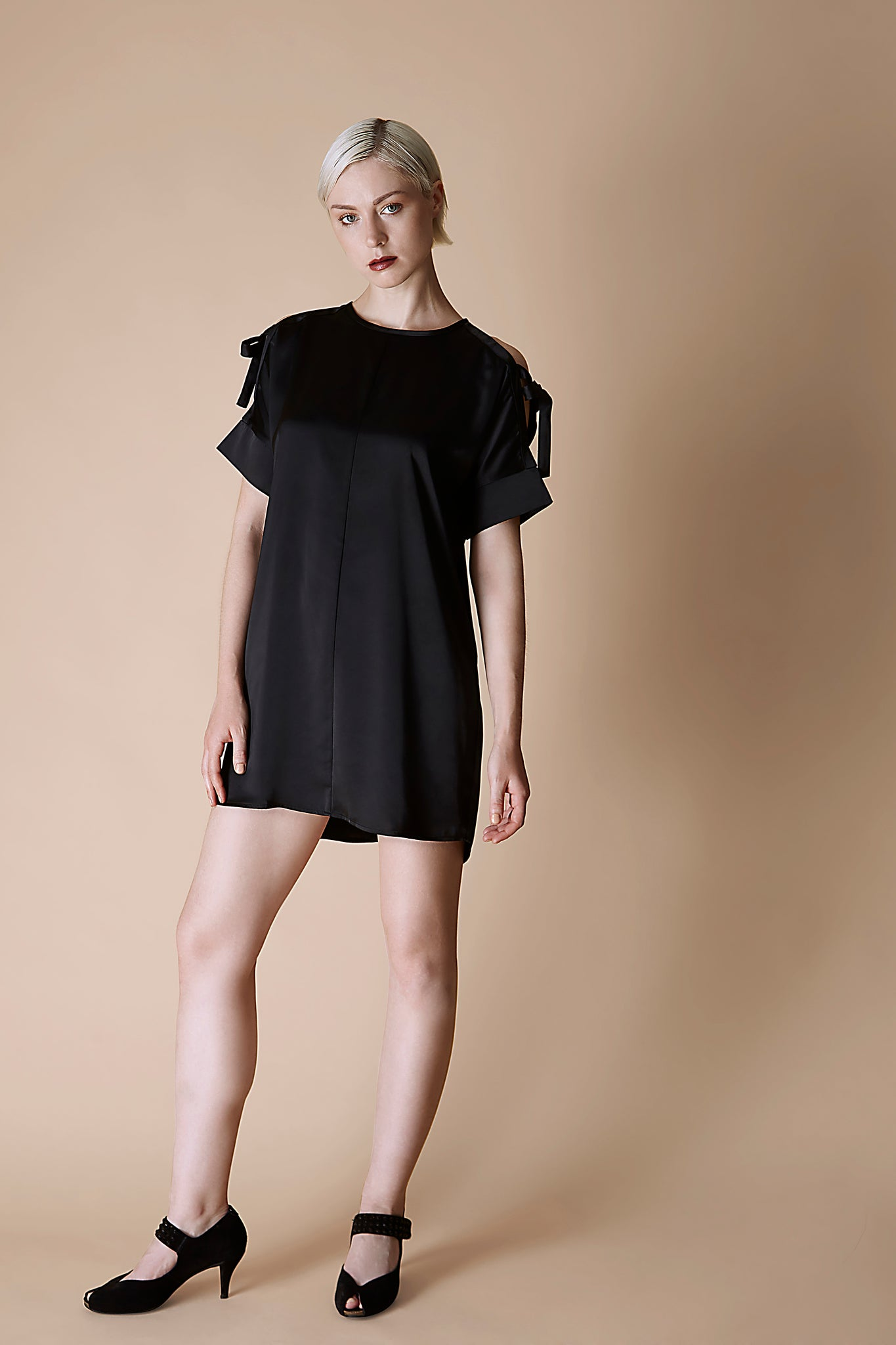 Black Arm Tie Satin Dress