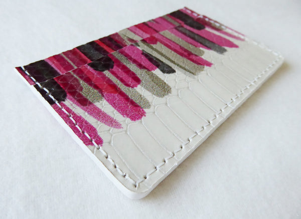 Pink Stroke Leather Cardholder-Limited Edition