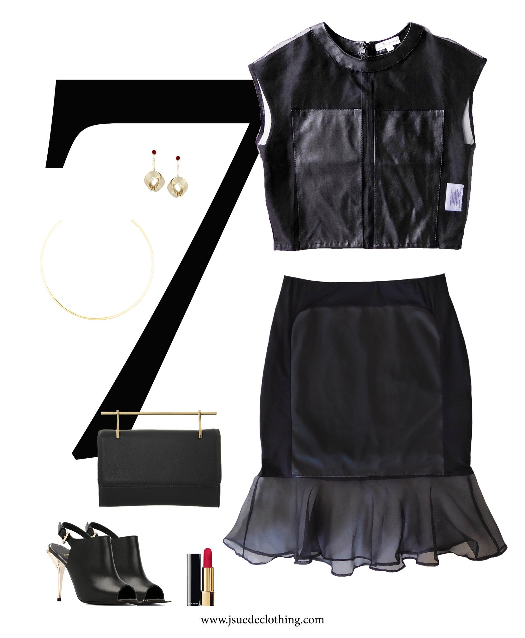 Black Organza crop