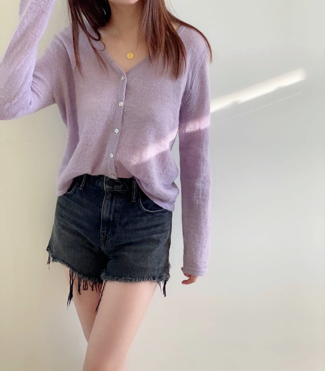 Lilac Mohair-blend cardigan