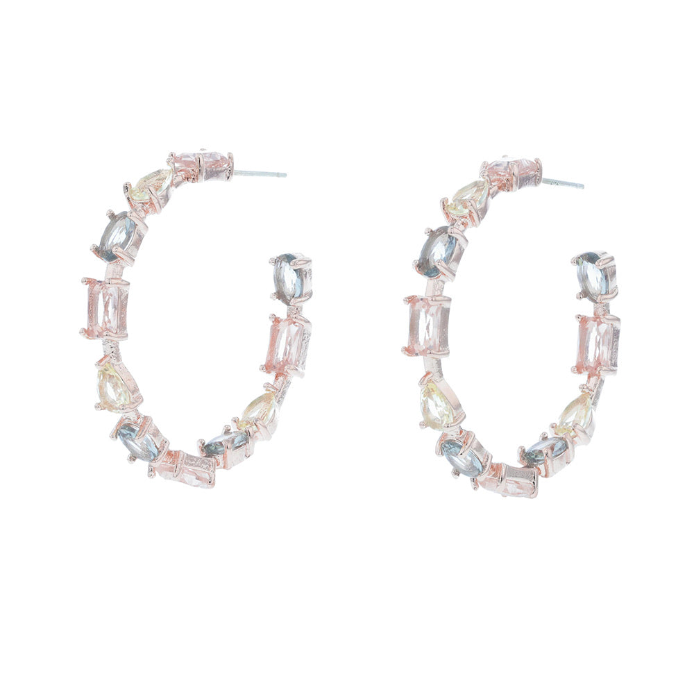 Jolie and Deen Florence Crystal Hoops