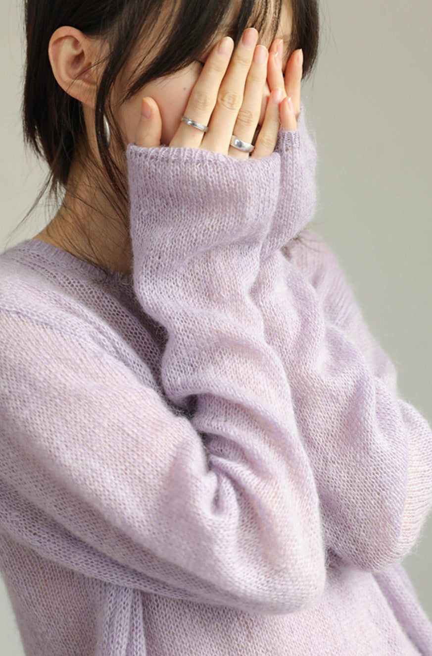 Lilac Loose-Knit Mohair-Blend sweater