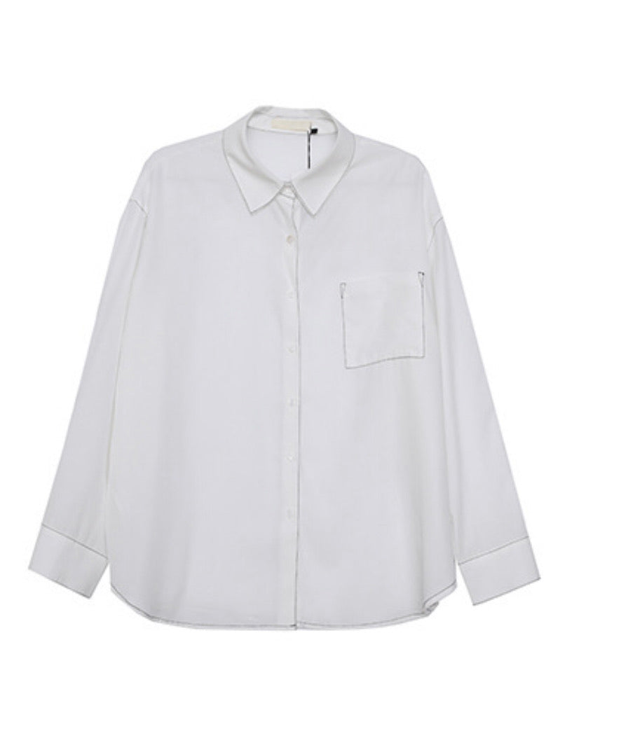 Top stitched white shirt