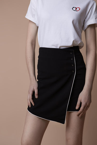 Wrap-effect mini skirt
