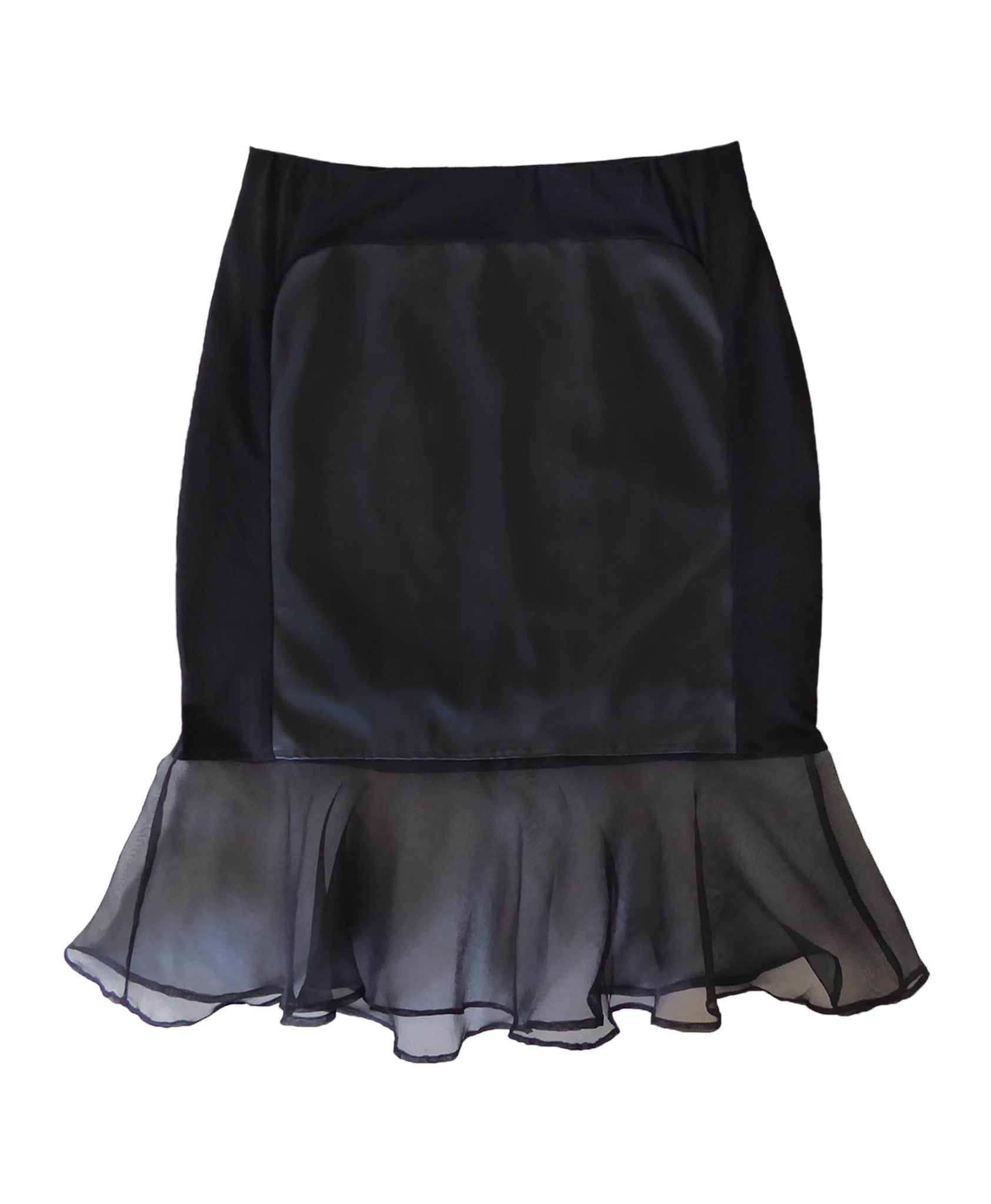 Mini skirt with leather panel