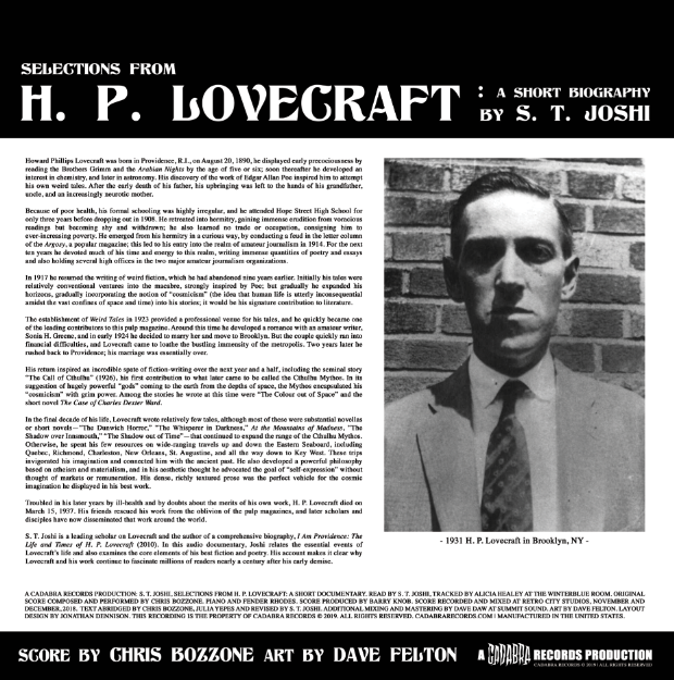 "H. P. LOVECRAFT: A SHORT BIOGRAPHY WRITTEN AND READ BY S. T. JOSHI LP WITH MUSIC BY CHRIS BOZZONE - ""RANDOM COLOR"" VINYL"