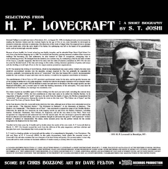 H. P. LOVECRAFT: A SHORT BIOGRAPHY WRITTEN AND READ BY S. T. JOSHI LP WITH MUSIC BY CHRIS BOZZONE - YELLOW WITH BLACK SWIRL VINYL