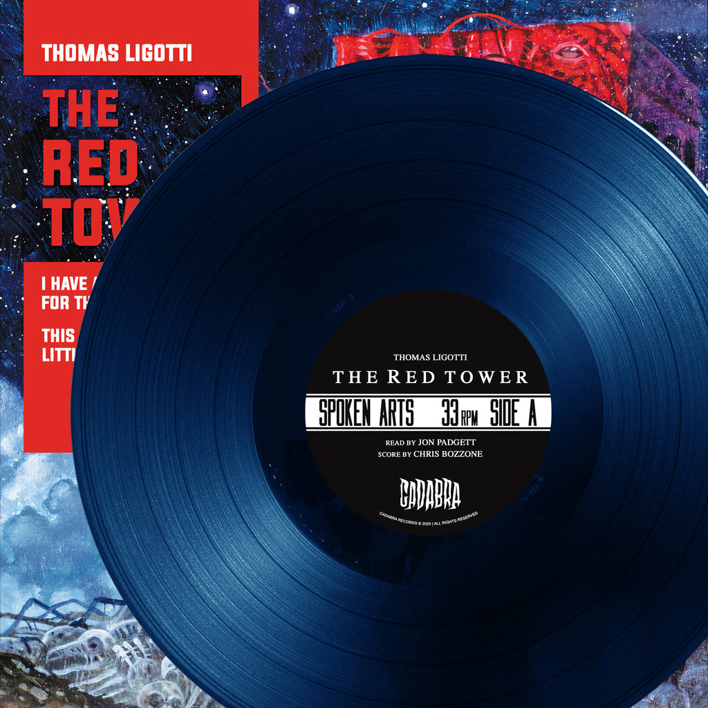 THOMAS LIGOTTI, THE RED TOWER LP - READ BY JON PADGETT, SCORE BY CHRIS BOZZONE - THIS DEGENERATE LITTLE TOWN VARIANT