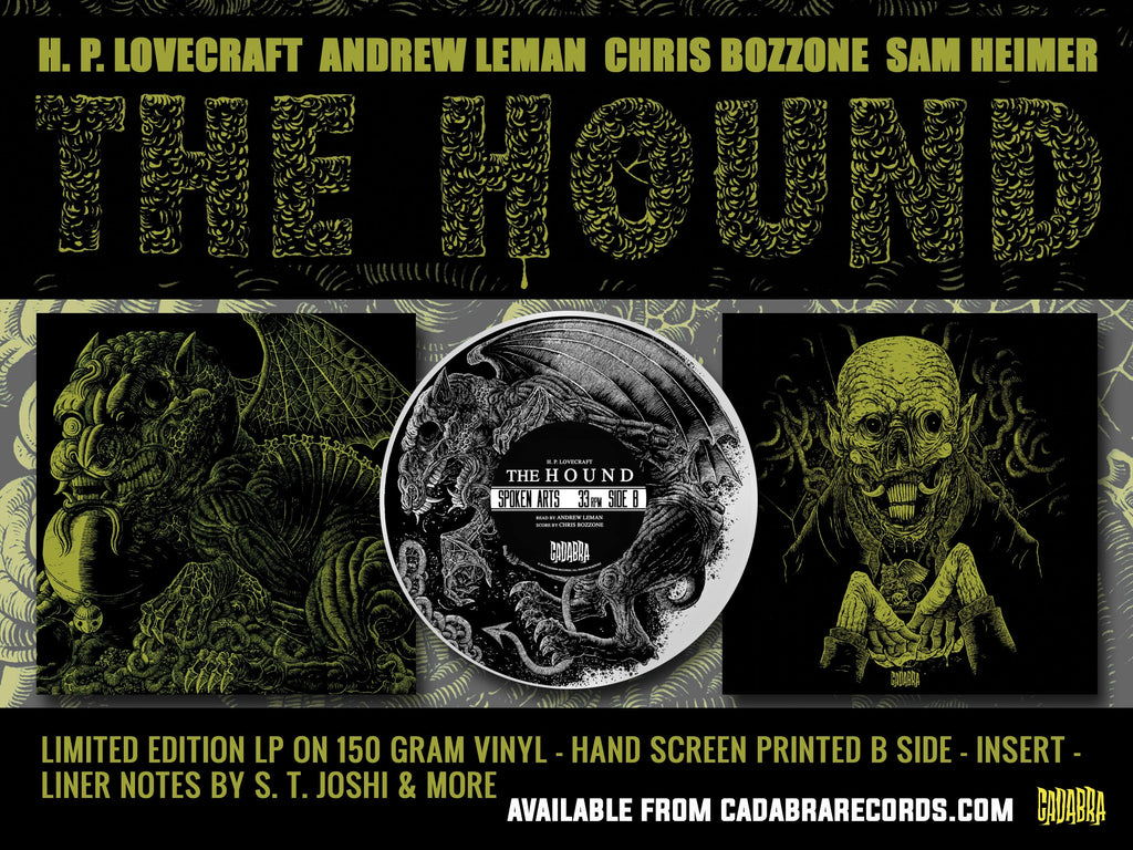OUT OF PRINT - H. P. Lovecraft's, The Hound LP - Read by Andrew Leman, score by Chris Bozzone - EMERALD GREEN VINYL