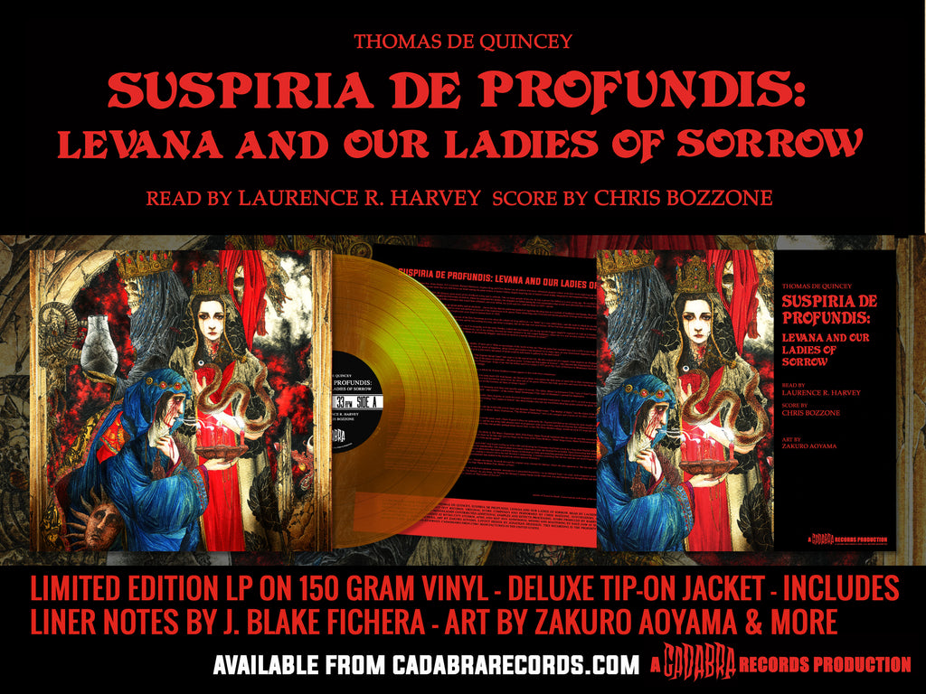 "Thomas De Quincey, Suspiria De Profundis: Levana and Our Ladies of Sorrow 12"" READ BY LAURENCE R. HARVEY, SCORE BY CHRIS BOZZONE - Mater Suspiriorum, Our Lady of Sighs variant (Yellow)"