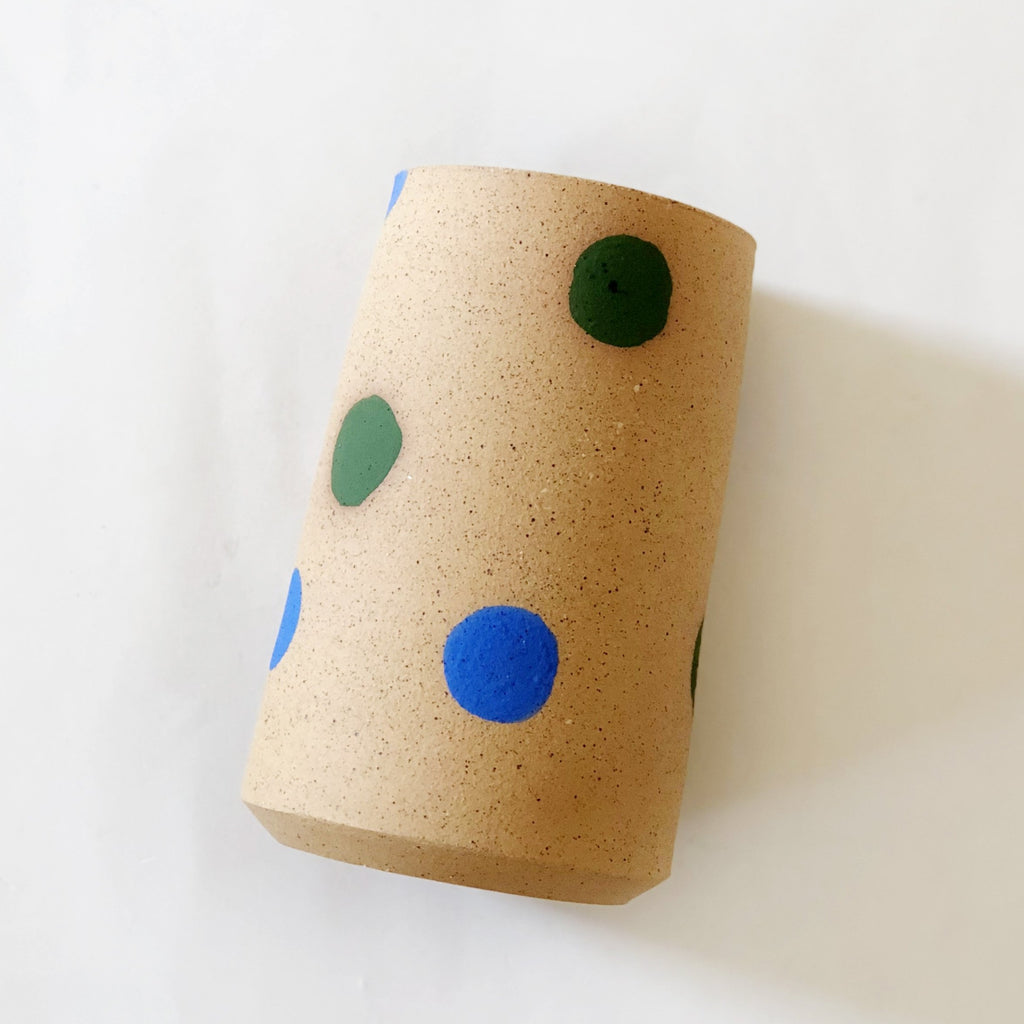Blue Green Polka Dot Vase