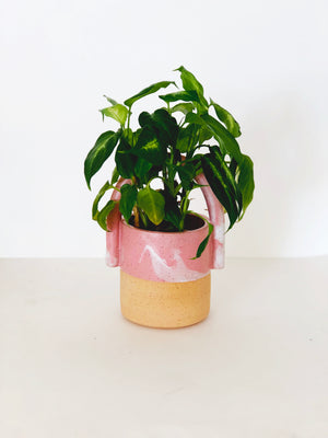 Medium Bucket Marble Pink Planter