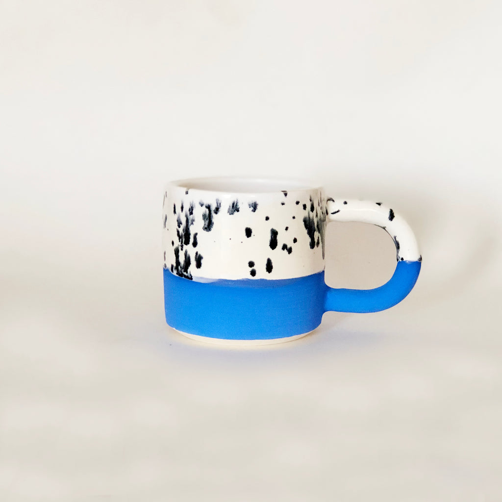 Small Blue Black Dots Mug