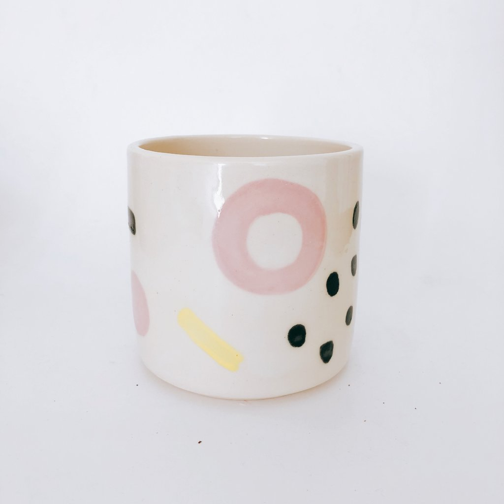 Pink with Black Dots Graphic Planter