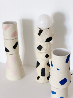 Pink Shape on White Vases