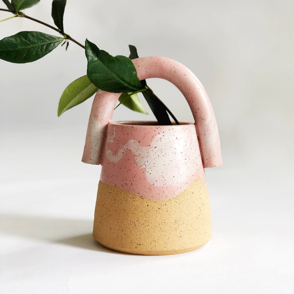 Bucket Marble Pink Planter