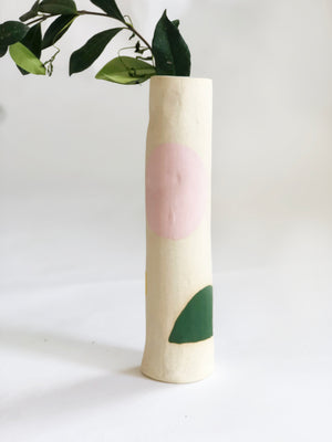 "Hand built Tall (10.5"") Tube Vase"