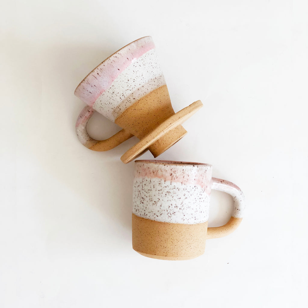 Matte White and Pink Speckles Pour Over Coffee Dripper