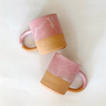 Large Matte Pink and White Marble Mug