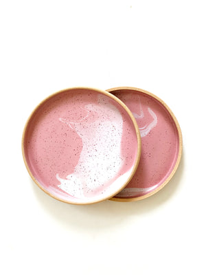 Dining Plate (Matte Pink and White Marble)