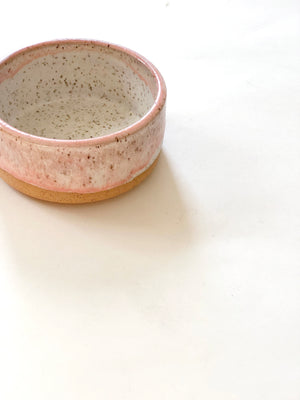 Matte Creamy White and Pink Bowl