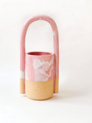 Long Bucket Marble Pink Planter