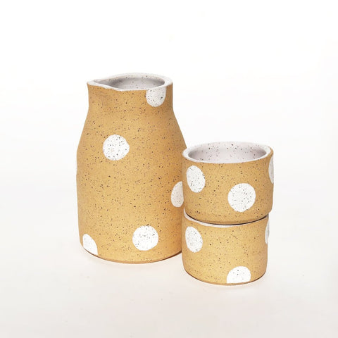 White Polka Dots Sake set