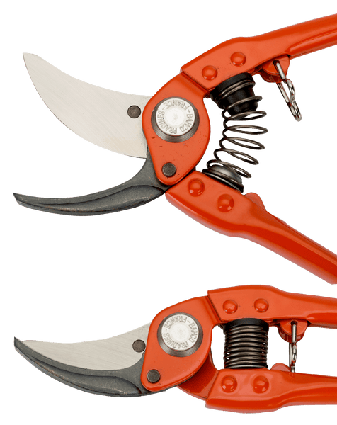 Bypass Secateurs with Stamped/Pressed Steel Handle and Narrow Cutting Head (BAHCO)