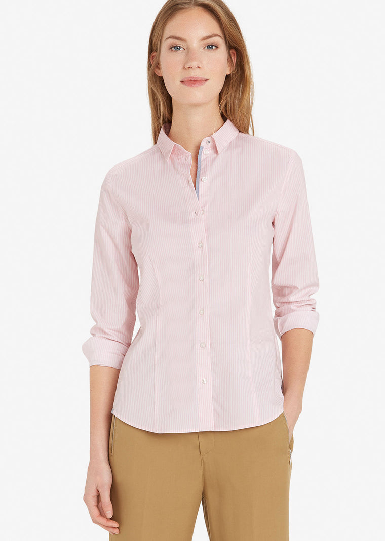 Blouse rose à rayures