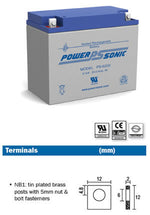 PowerSonic 6v 20Ah SLA battery