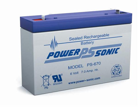 PowerSonic 6v 7.0Ah F1 SLA battery